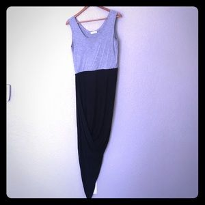 Calvin Klein Gray Black asymmetrical dress Sz 10